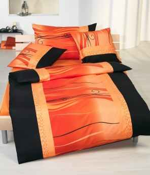 Satin-Bettgarnitur «Finesse orange»