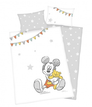 Baby-Bettwäsche-Garnitur «Mickey Teddy»