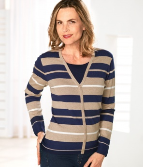 Pullover in Cardigan-Optik