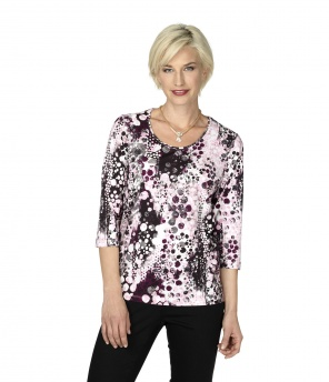 Shirt 3/4-Arm gemustert rosa