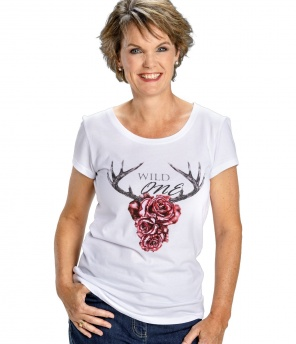 Damen Wiesn T-Shirt Rose weiss